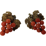 Victorian Coral Cluster Earrings, 14k