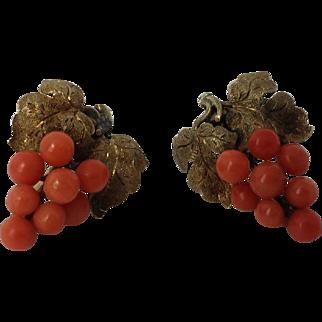 Victorian Coral Cluster Earrings, 14k