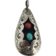 Native American Sterling Silver Shadow Box Pendant with Turquoise and Coral Cabochons Signed C. B. Tom