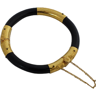 24k Yellow Gold and Black Coral Bangle Bracelet