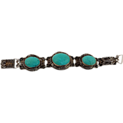 Chinese Export Sterling Hallmarks, Filigree and Turquoise Bracelet
