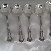 Set 6 Gorham 1899 Cambridge Un-monogrammed Cream Soup Spoons