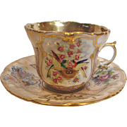 French Old Paris Cup Saucer Hand Painted Birds in a Nest Roses Gold c 1850