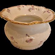 French Haviland Limoges Spittoon Factory Transfer Violets c 1891-1900