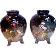 French Haviland Limoges Pair Barbotine Vases Signed by Auteuil Artist Jules Habert-Dys, Faience Terra Cotta, Impressionism Japonisme, c 1880