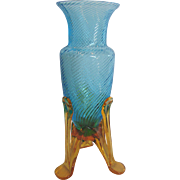 Bohemian Czech Small Blue Art Glass Vase Machine Threaded Amber Rocket Ship Feet c 1930