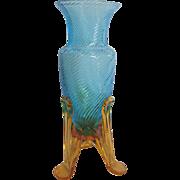 Bohemian Czech Small Blue Art Glass Vase Machine Threaded Amber Rocket Ship Feet c 1930