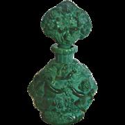 Bohemian Czech Green Jade or Malachite Perfume Bottle w Bachus Winged Cherubs Plucking Grapes Schlevogt Hoffman Ingrid c 1935
