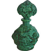 Bohemian Czech Green Jade or Malachite Perfume Bottle w Bacchus Winged Cherubs Plucking Grapes Schlevogt Hoffman Ingrid c 1935