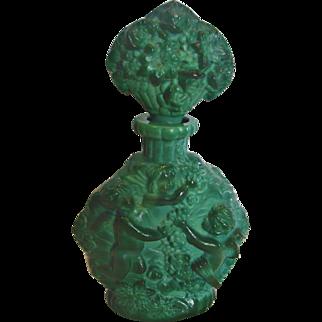 Bohemian Czech Green Jade or Malachite Perfume Bottle w Bacchus Winged Cherubs Plucking Grapes Schlevogt Hoffman Ingrid c 1935