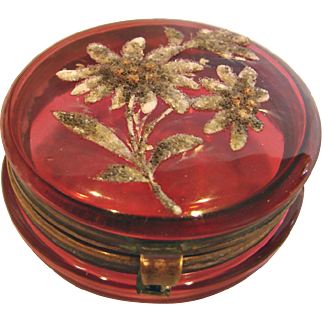 Bohemian Czech Small Cranberry Art Glass Patch Box w Coralene Daisy Flowers c 1890