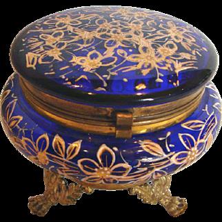 Bohemian Czech Cobalt Blue Art Glass Box Metal Feet Hand Enameled c 1890