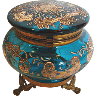 Bohemian Czech Blue Art Glass Box Metal Feet Hand Enameled c 1890