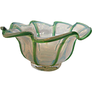 English Opalescent Art Glass Bowl w Green Edges c 1900