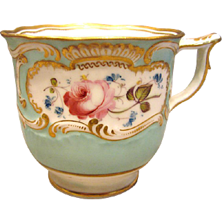 English Staffordshire Hand Painted Cup Pink Rose Flowers Pale Blue c 1820