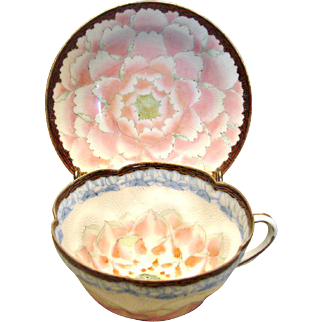Exceptional Japanese Cup Saucer Delicate Beading Detailed Hand Painted Decoration Early Nippon c 1880