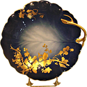 French Limoges Shaded Cobalt Blue Glaze Leaf Shape Cake Plate or Platter w Gold Blackberry Vine Overlay c 1891 - 1900