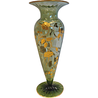 Bohemian Czech Green Paneled Crystal Art Glass Vase Hand Enameled Gold Wild Roses on Thorn Vines c 1900