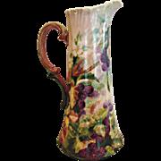 "French Limoges Large 15"" Tankard Jug Pitcher Vase Hand Painted Blackberries c 1892 - 1907"