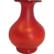 Bohemian Czech Poschinger Red Iridescent Art Glass Vase c 1900