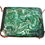 Bohemian Czech Schlevogt Art Deco Green Jade or Malachite Art Glass Plaque in Brass Stand Nude Bare Breasted Woman Dog c 1935