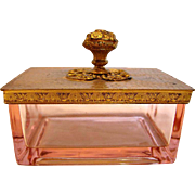 American Depression Pink Art Glass Box with Hammered Brass Lid c 1930