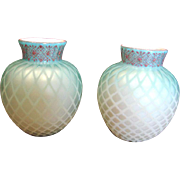 "English Pair Satin Art Glass Vases 6 ¼"" MOP Diamond Quilted Cased Shading to Blue Some Hand Enameling c 1885"