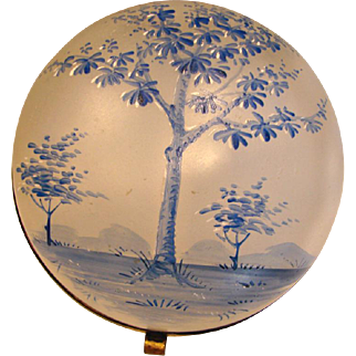 Bohemian Hinged Art Glass Box Blue Enameled Tree Scene c 1880