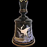 Bohemian Harrach Black Art Glass Box Crenellated Top Hand Enameled Heron Bird Fish c 1880