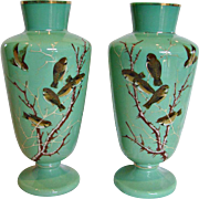 "Bohemian Czech Pair Green Opaline Art Glass Vases 12.5"" Hand Enameled Birds c 1870"