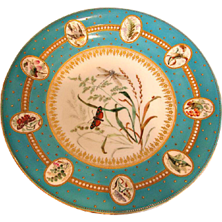 English Royal Worcester Exceptional Hand Painted Plate Bees, Butterflies, Birds, Dragonfly, Ladybug on a Leaf, Beading c 1862