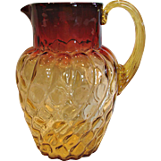 "American New England Amberina Art Glass Pitcher 9 ¼"" Spiral  Lobes with Thumbprints Amber to Deep Fuchsia Red c 1885"