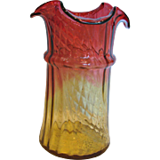 "American New England Amberina Art Glass Celery Vase 7 ½"" TWO Patterns Vertical Lobes AND Slanted Diamond Quilted Amber-to-Cranberry Red c 1880"