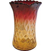 "American New England Amberina Art Glass Celery Vase 6"" Diamond Quilted Narrow Panels Amber-to-Fuchsia Red c 1880"