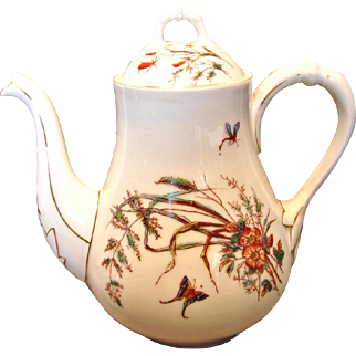 French Limoges Large Tea or Coffee Pot Butterflies Dragonflies c 1860 - 1870