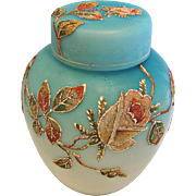 English Satin Shaded Blue Art Glass Cased Tea Caddy Lidded Jar Coralene Beaded Roses c 1890