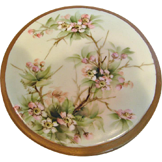German Bavarian Tea Trivet Hand Painted Pink Dogwood Blossoms Artist Signed c 1910