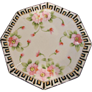 Japanese Nippon Tea Trivet Hand Painted Pink Dogwood Blossoms c 1910