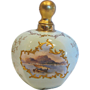 English Coalport Staffordshire 6-Sided Perfume Bottle Pale Green Miniature Landscape Hand Painted Scenes Raised Gold c 1891 - 1901