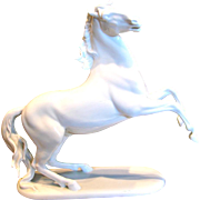 "German Rosenthal 12.75"" Rearing Horse White Stallion Figurine Signed Hugo Meisel c 1957 - 1965"