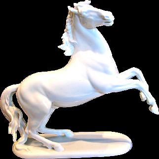 "German Rosenthal 12.75"" Rearing Horse White Stallion Figurine Signed Hugo Meisel c 1957 - 1965"