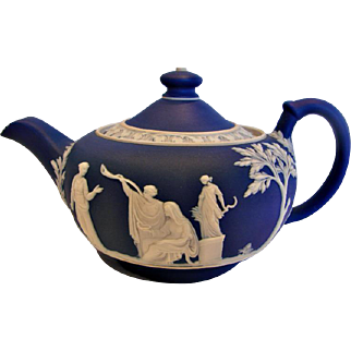 English Wedgwood Jasperware Matte Cobalt Blue Demitasse Teapot Classic Greek Mythology Figures c 1891 - 1908