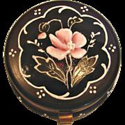Bohemian Czech Small Amethyst Purple Patch Art Glass Box Hand Enameled Pink Flower c 1890