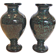 Bohemian Czech Pair Cased Art Glass Vases Very Unusual Stone Mottled Teal Green and Black w Specks Red c 1870 - 1900