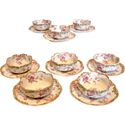 French Haviland Limoges Set 8 Dessert Ramekin Cups & Scrs Pink Drop Roses Gold Trim c 1893 - 1930