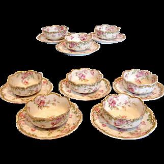 French Haviland Limoges Set 8 Dessert Ramekin Cups & Scrs Pink Drop Roses Gold Trim c 1893 - 1930