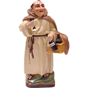 French Old Paris Personnage Figural Veilleuse Demitasse Teapot on Warming Stand Capuchin Monk Holding Bottles of Bordeaux Wine c 1850