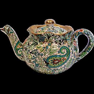 English Staffordshire Demitasse or Small Teapot Green Chintz w Gold c 1921
