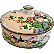 English Cake or Cookie Copper Enameled Round Tin w Lid Footed Hand Painted Birds & Flowers High Quality c 1900