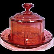 Bohemian Czech Cranberry Pale Ruby Art Glass Cheese Keeper Dish Paneled Beveled Dome & Plate c 1880
